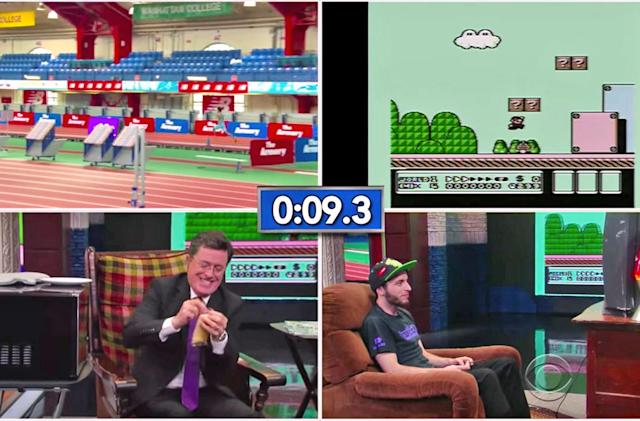 Watch Stephen Colbert challenge a 'Super Mario' speedrunner