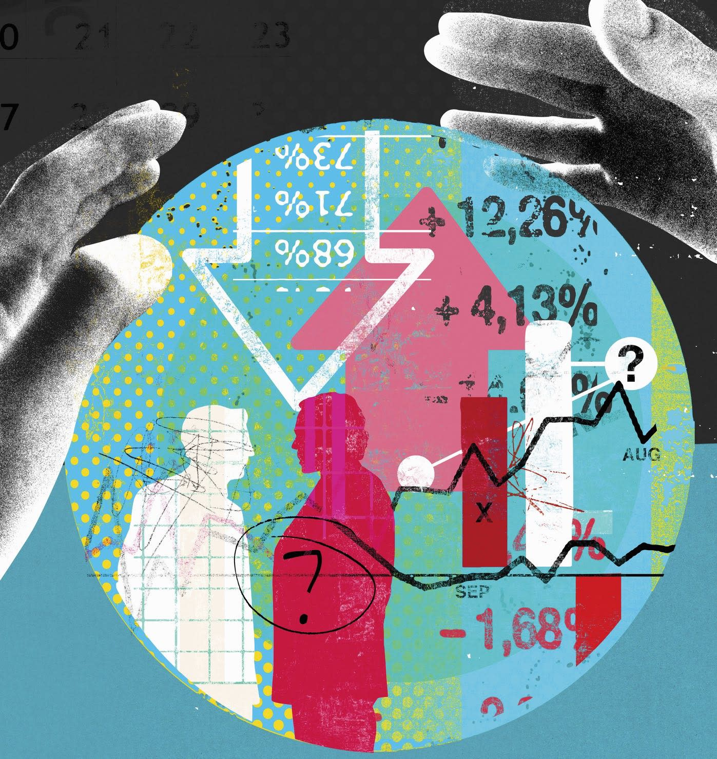 Hands around finance data inside of crystal ball