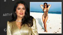 Salma Hayek, 52, cuts a fierce figure in cutout leopard print swimsuit