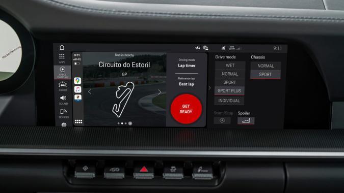 Porsche Track Precision app in CarPlay mode
