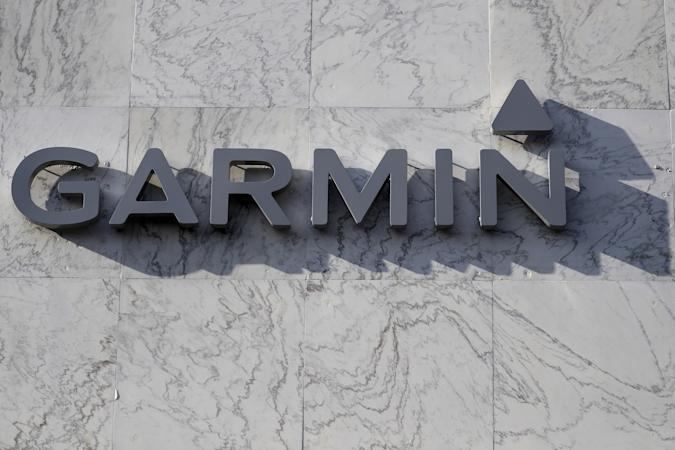 A Garmin logo is pictured on a building along the Lincoln Road Mall in Miami Beach, Florida March 17, 2016. REUTERS/Carlo Allegri