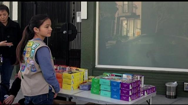Girl Scout sells cookies outside marijuana clinic