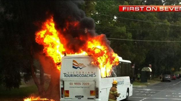 Bus bursts into flames