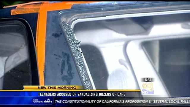 Teenagers accused of vandalizing dozens of cars