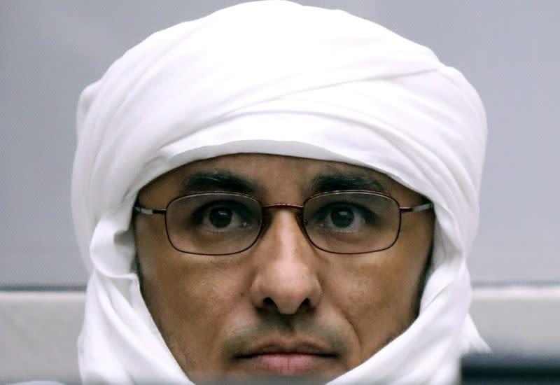 FILE PHOTO: Malian Islamist militant Al Hassan Ag Abdoul Aziz Ag Mohamed Ag Mahmoud a hearing at The Hague
