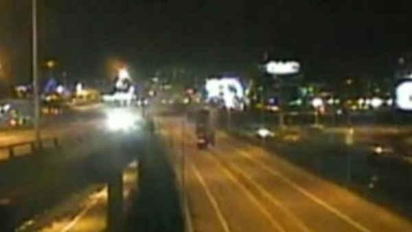 Raw Video: Tractor-trailer plunges off highway in Boston