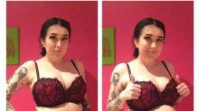 Jovem posta fotos com e sem cinta modeladora para promover auto-estima