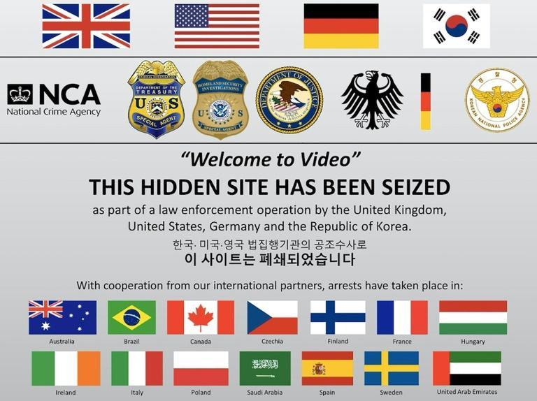 """The website of """"Welcome to Video,"""" the leading underground vendor of child pornography, has been seized by law enforcement as part of an international investigation that has reaped 337 arrests around the world (AFP Photo/HO)"""