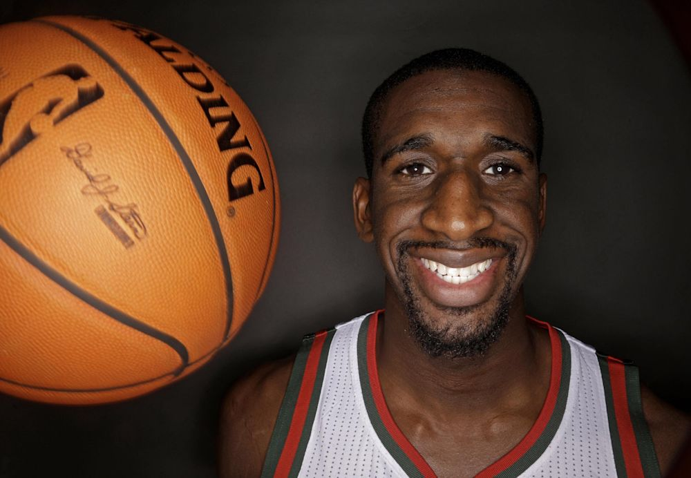 """FILe - This is a Sept. 30, 2013 file photo showing Milwaukee Bucks' Ekpe Udoh posed during the team's media day in St. Francis, Wis. The NBA free agent who most recently played for the Bucks treated members of his burgeoning book club to a screening of the movie """"The Fault in Our Stars."""" It was the first in-person meeting for a group that had only met through Twitter"""