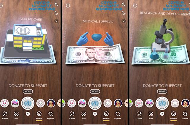 Snapchat's new lens helps users donate to the WHO's COVID-19 relief fund