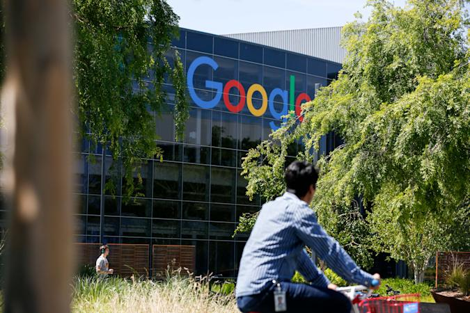 Google's main campus is seen as a sit-in to protest against Google's retaliation against workers takes place within Google's main cafeteria in Mountain View, California on May 1, 2019. (Photo by Amy Osborne / AFP)        (Photo credit should read AMY OSBORNE/AFP/Getty Images)
