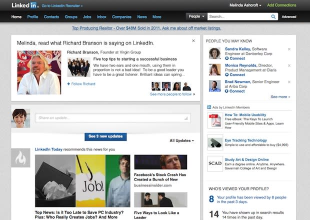 LinkedIn branches out with new blogging and 'following' features for select group
