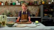 Jamie Oliver's eight-year-old son Buddy uses knife and gas hob in presenting debut