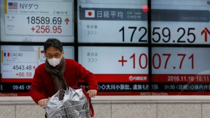Asia steady on firmer Wall Street, pound nurses losses