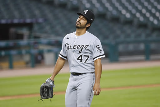 Chicago White Sox pitcher Gio Gonzalez walks to the dugout after being relieved against the Detroit Tigers in the fifth inning of a baseball game in Detroit, Tuesday, Aug. 11, 2020. (AP Photo/Paul Sancya)