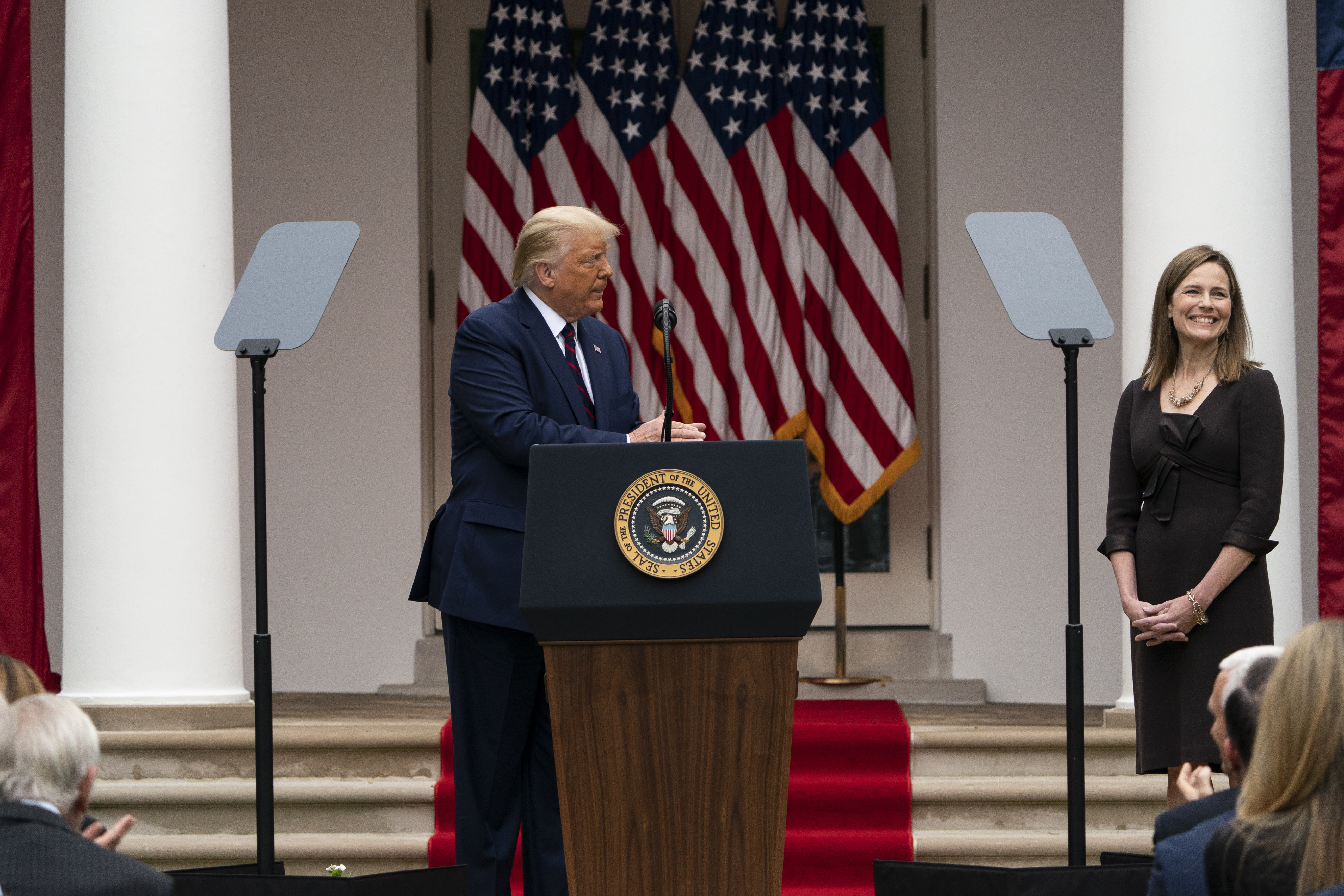 President Donald Trump speaks as he announces Judge Amy Coney Barrett as his nominee to the Supreme Court, in the Rose Garden at the White House, Saturday, Sept. 26, 2020, in Washington. (AP Photo/Alex Brandon)