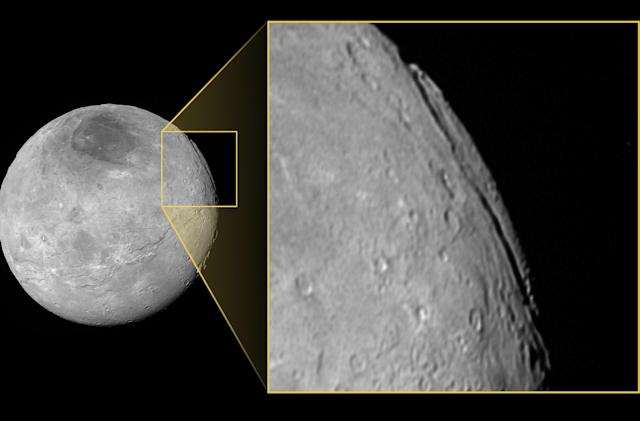 Pluto's moon Charon features a massive, deep chasm