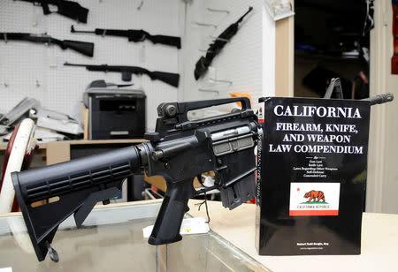 FILE PHOTO: A 736-page California gun law book is on display along with guns at Aegis Trading Enterprises gun shop in Burbank, California, U.S., December 19, 2012. REUTERS/Gene Blevins/File Photo