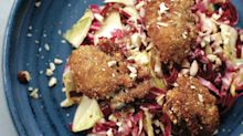 Endive & Radicchio Salad with Fried Oysters & Hazelnuts from 'Oysters'