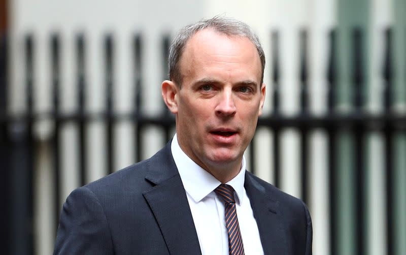 FILE PHOTO: Britain's Foreign Secretary Dominic Raab at Downing Street ahead of a cabinet meeting in London