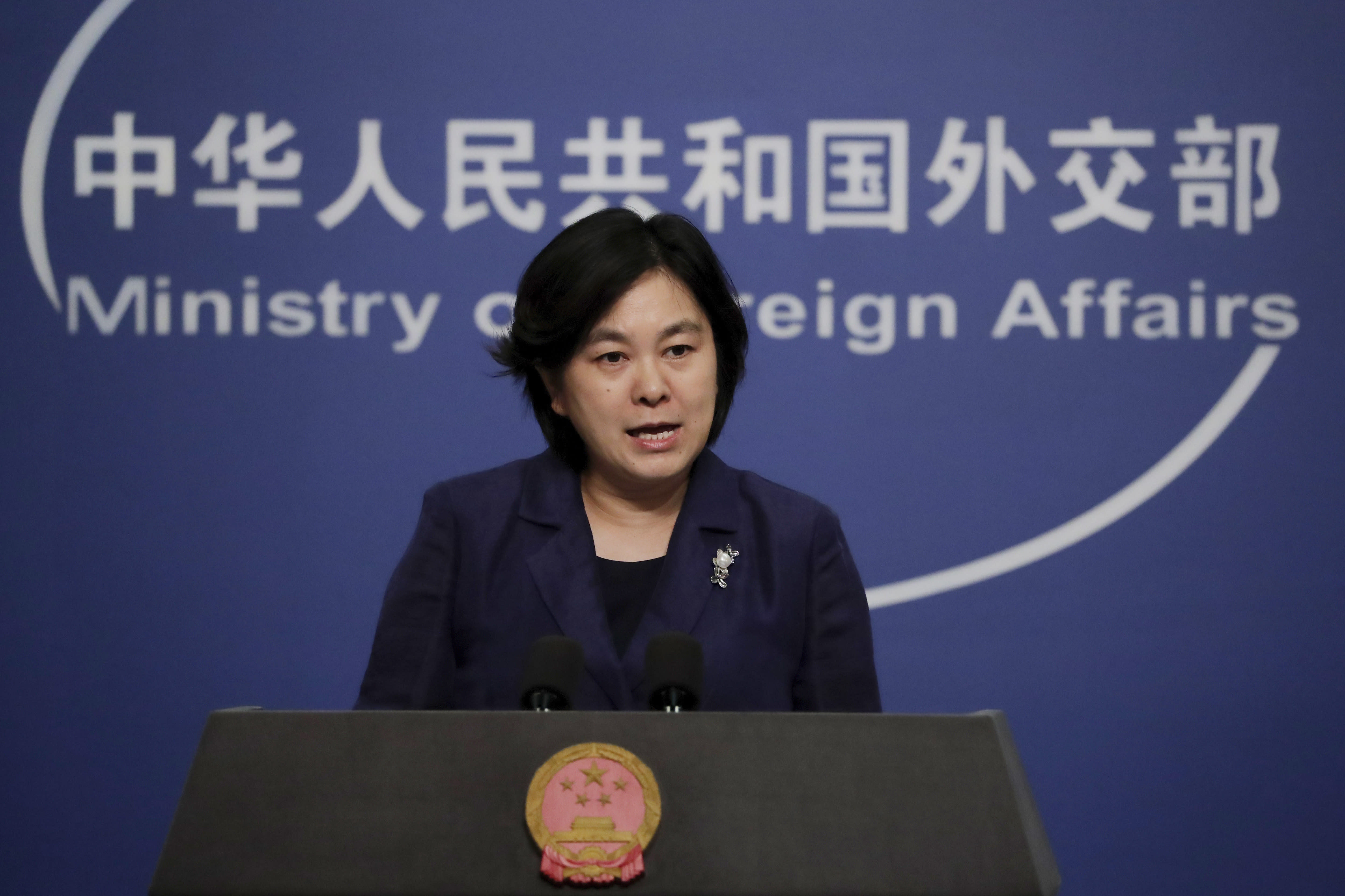 """Chinese Foreign Ministry spokeswoman Hua Chunying speaks during a daily briefing at the Ministry of Foreign Affairs office in Beijing, Tuesday, Sept. 1, 2020. Hua strongly condemned The Czech Senate President Milos Vystrcil 's visit to Taiwan, saying """"he is openly supporting the separatist forces and separatist activities in Taiwan that seriously violate China's sovereignty and China's internal affairs."""" (AP Photo/Andy Wong)"""