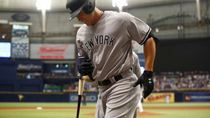 Aaron Judge chips his tooth during a post-game celebration