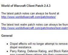 World of Warcraft 2.4.3 patch released