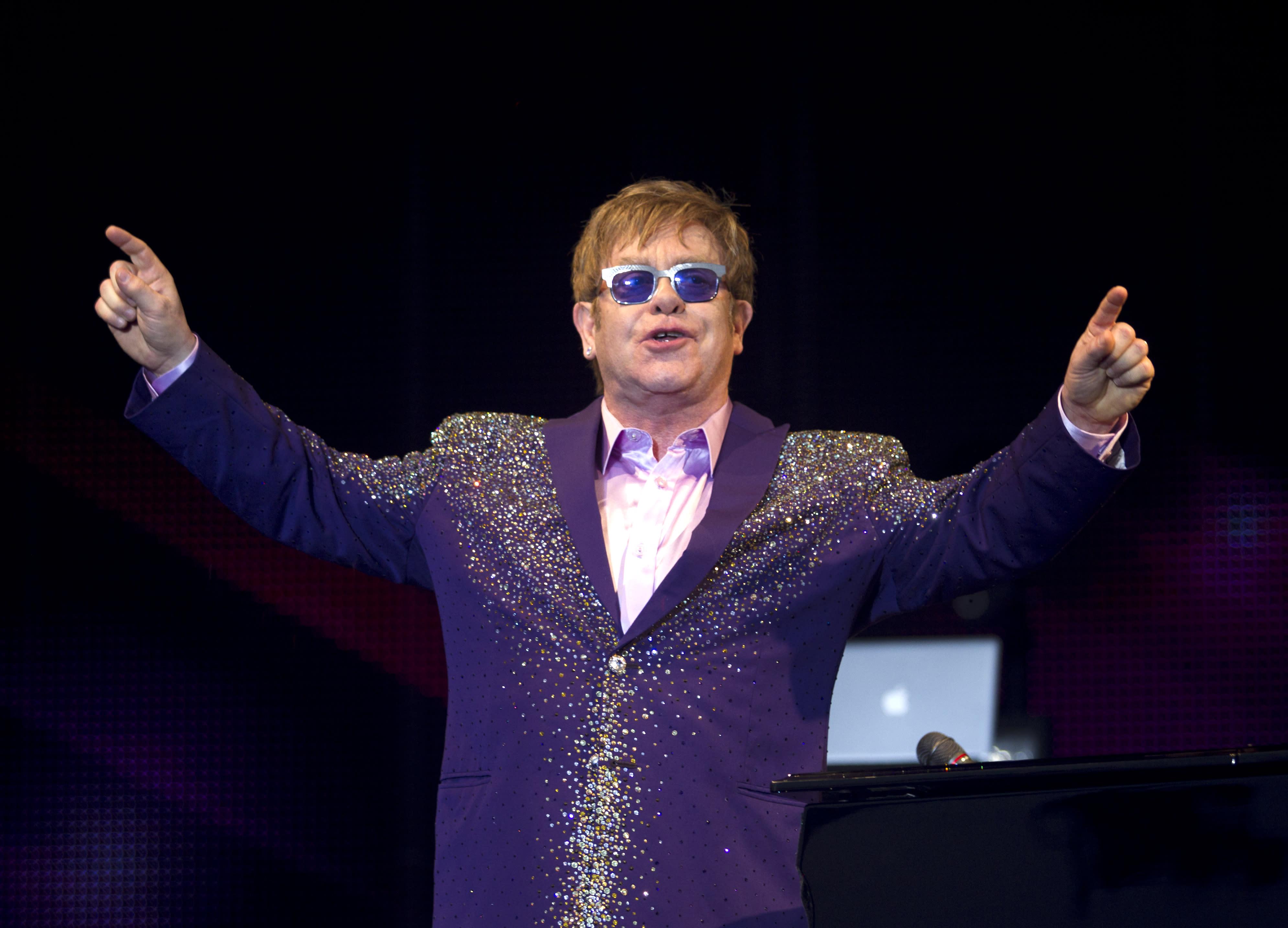 British singer Elton John performs at the Ibiza123 Festival in Sant Antoni de Portmany on the Balearic island of Ibiza on July 2, 2012
