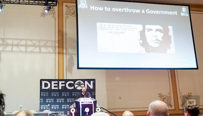 Security researcher Chris Rock explains the best ways for regime change at Def Con in Las Vegas.