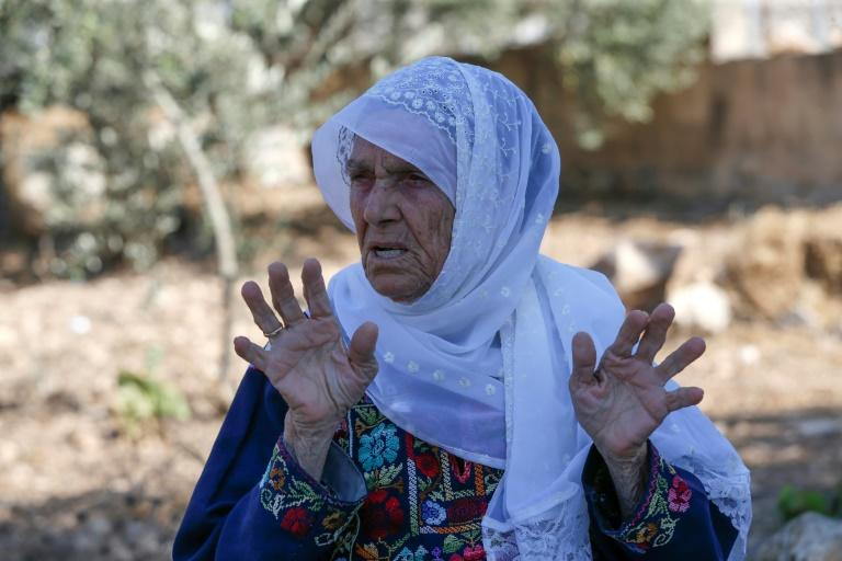 Muftia Tlaib, the maternal grandmother of US Congresswoman Rashida Tlaib, outside her home in Beit Ur al-Fauqa in the occupied West Bank (AFP Photo/ABBAS MOMANI)