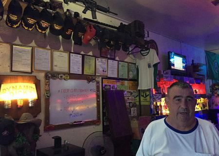 Former U.S. marine Richard Haulet, 64, speaks during an interview with Reuters, in a bar he owns, frequented by other American veterans, in Olongapo city in the Philippines., October 6, 2016. REUTERS/Kanupriya Kapoor