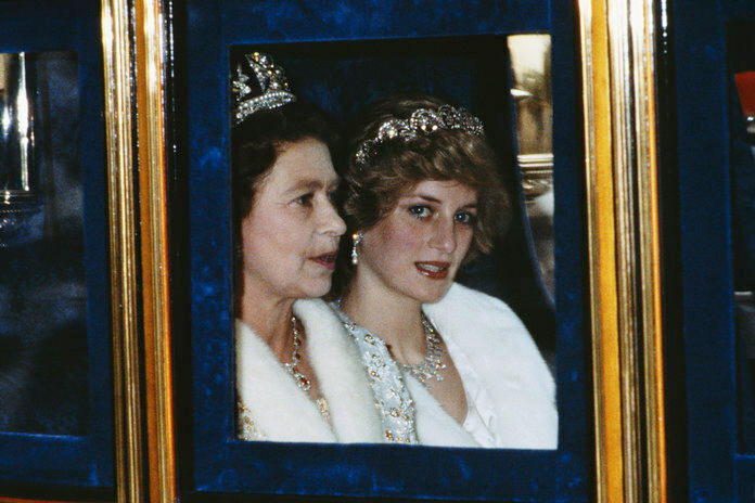 Diana pictured alongside a stern-faced Queen.