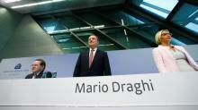 Euro soars after Draghi comments, world shares up again