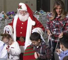 First Lady takes part in Marine Corps toy drive