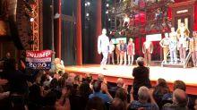 Theatergoer Holds Up 'Trump 2020' Flag At Robert De Niro's 'Bronx Tale'