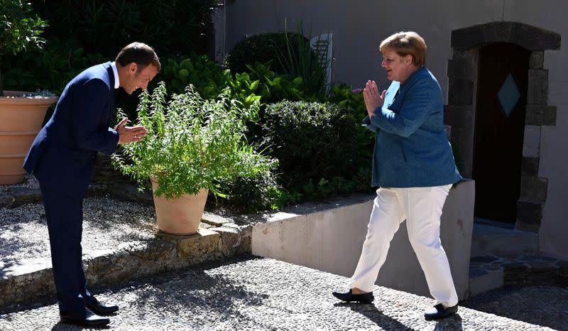 French President Emmanuel Macron and German Chancellor Angela Merkel meet at Fort de Bregancon