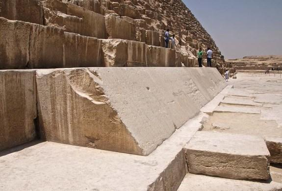 The Great Pyramid was originally covered in casing stones, though just a few survive today (and are shown here).