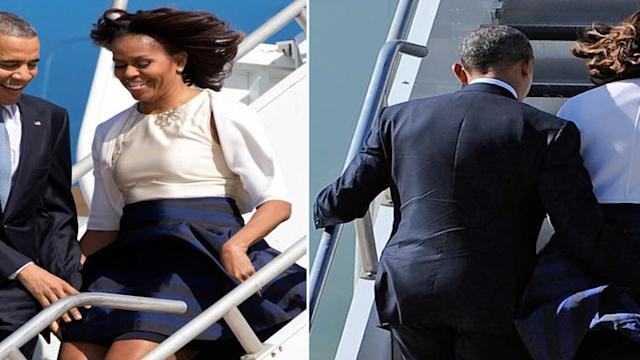 Barack Obama Prevents Michelles Wardrobe Malfunction