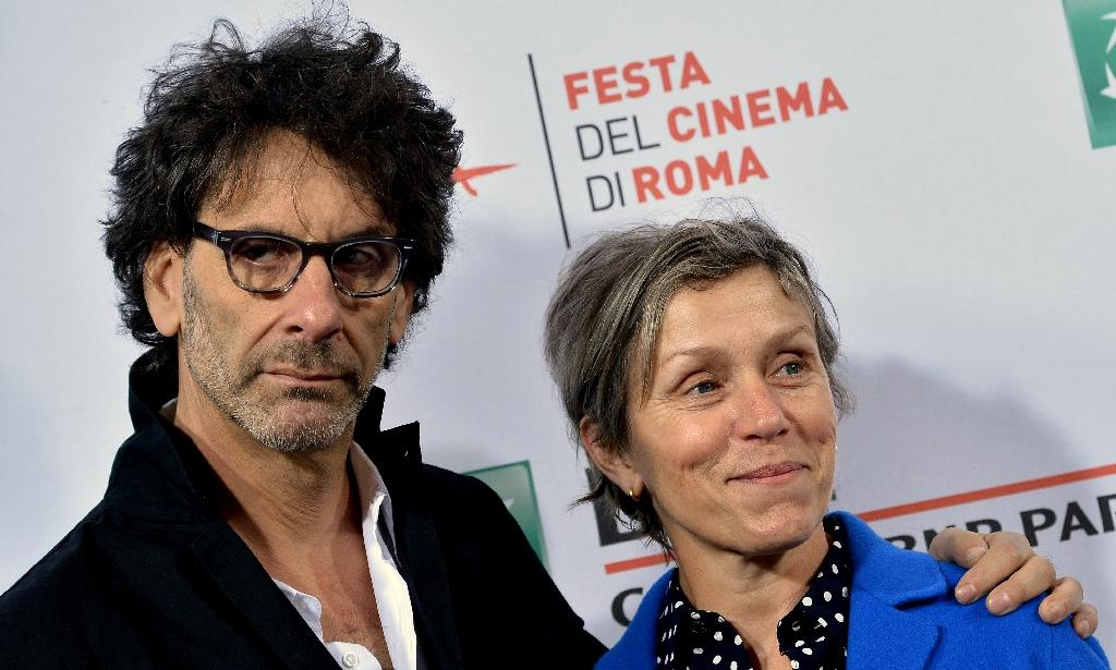 US actress Frances McDormand (R) and US director Joel Coen at the Rome Film Festival, on October 16, 2015 (AFP Photo/Tiziana Fabi)