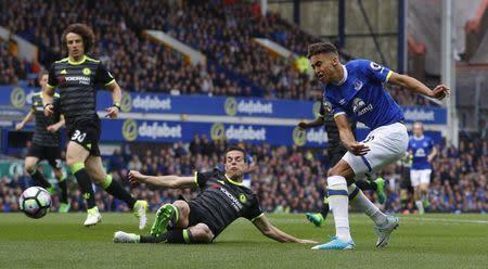 Everton's Dominic Calvert-Lewin shoots at goal