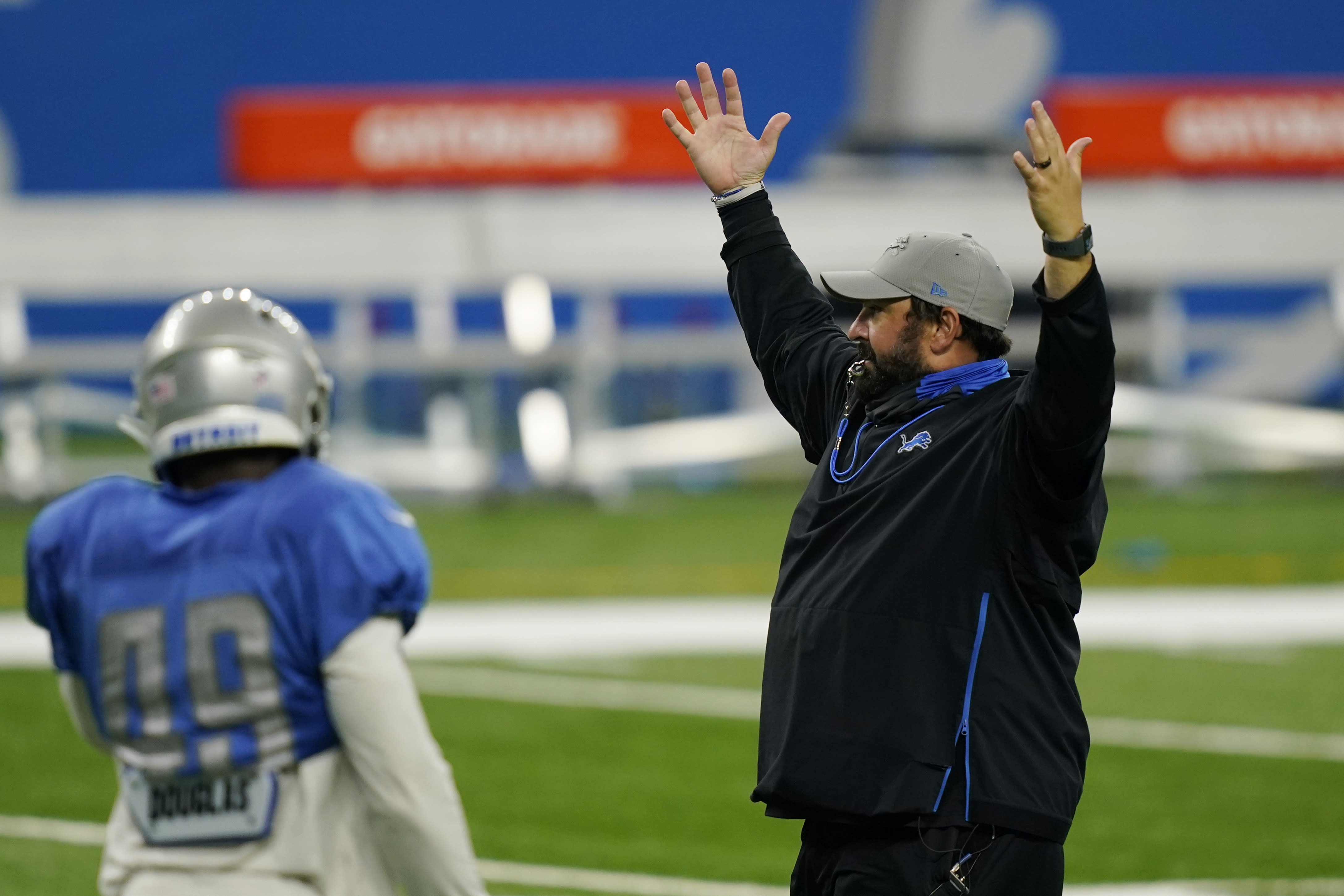 Detroit Lions head coach Matt Patricia calls for his team during drills at the Lions NFL football practice, Wednesday, Sept. 2, 2020, in Detroit. (AP Photo/Carlos Osorio)