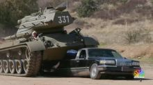 'Hasta la vista, limo': Schwarzenegger crushes limo with his awesome tank