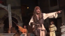 Johnny Depp delights crowds as Jack Sparrow on Disneyland's Pirates of the Caribbean ride