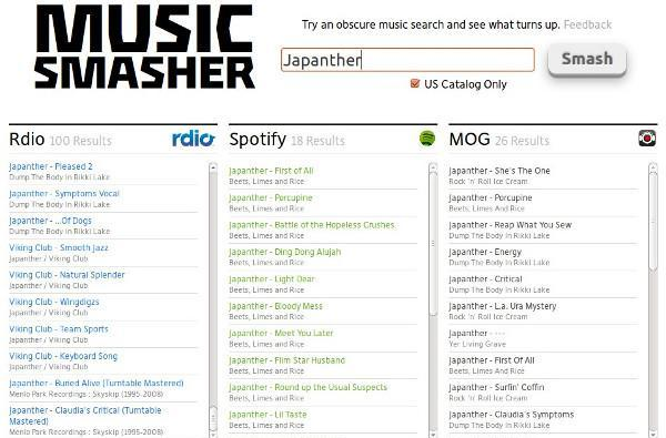 Music Smasher searches Spotify, Rdio, MOG and more in one shot