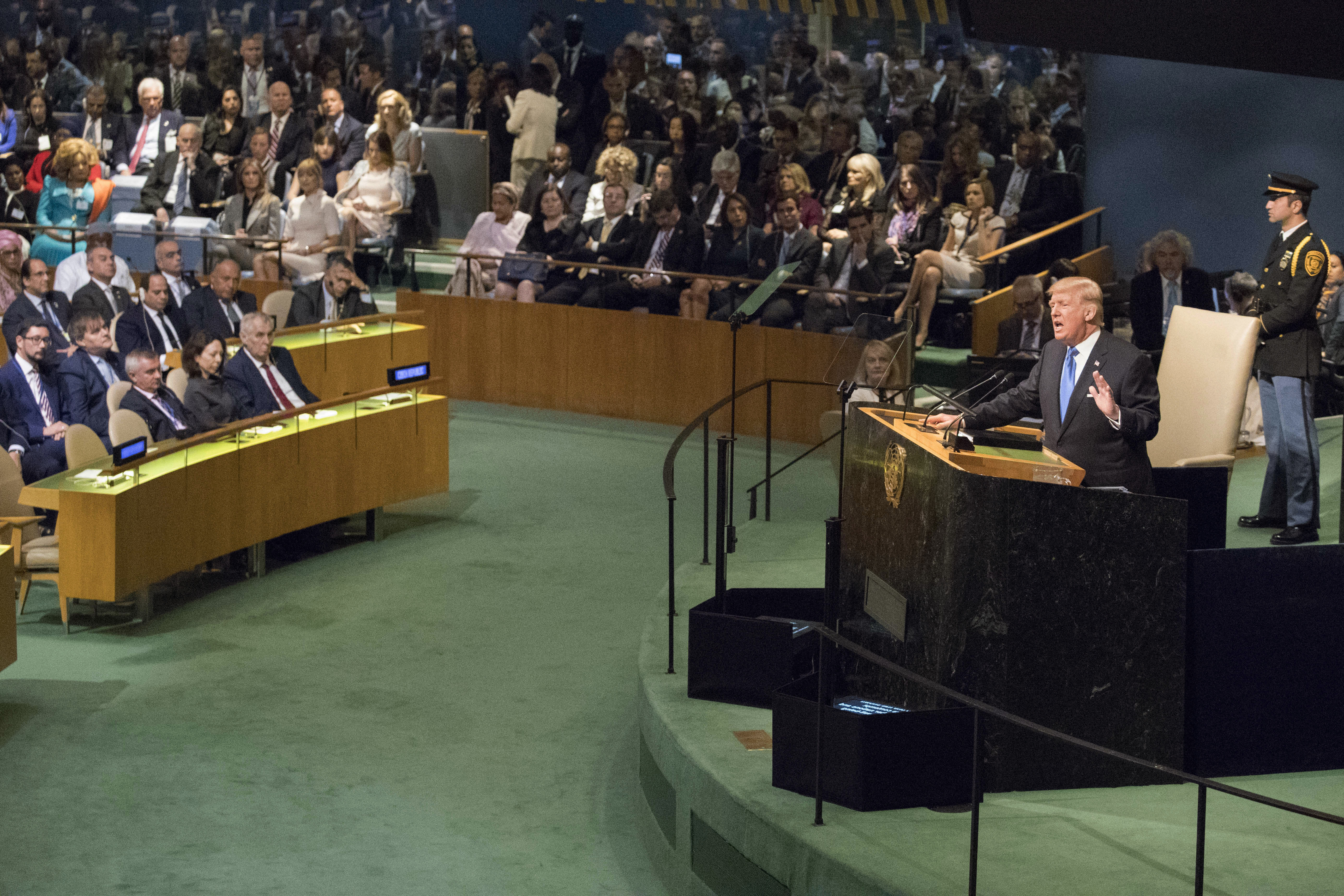 <p>The North Korean delegation table, left, is empty as President Trump speaks during the 72nd session of the United Nations General Assembly at U.N. headquarters, Tuesday, Sept. 19, 2017. (Photo: Mary Altaffer/AP) </p>