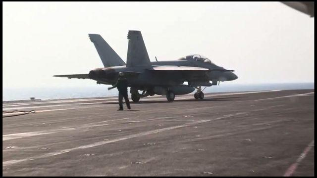 Fighter jets on USS George H.W. Bush recovered after airstrikes