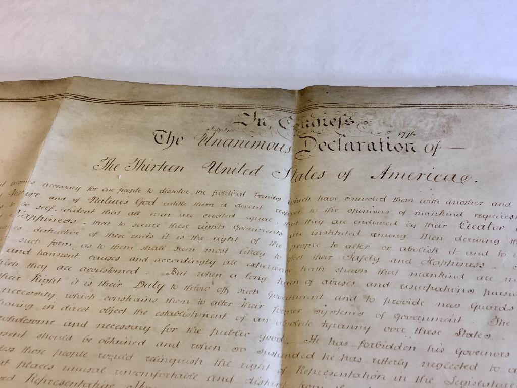 A rare parchment copy of the US Declaration of Independence found at a British archive among the papers of an aristocrat who supported the rebels has been authenticated, officials said