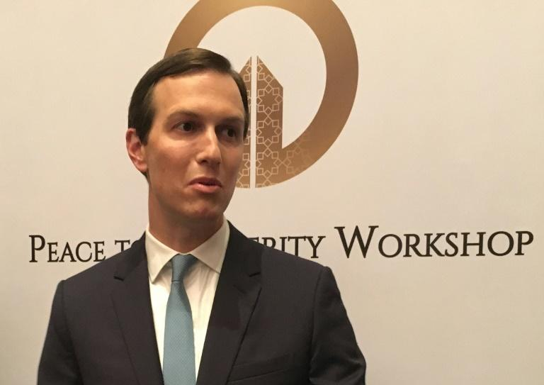 Jared Kushner President Donald Trump's son-in-law and adviser speaks to reporters at the US-sponsored Middle East