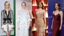 Retro-Frisur, blauer Eyeliner, Pastell-Lippen: Der Look von Emma Stone