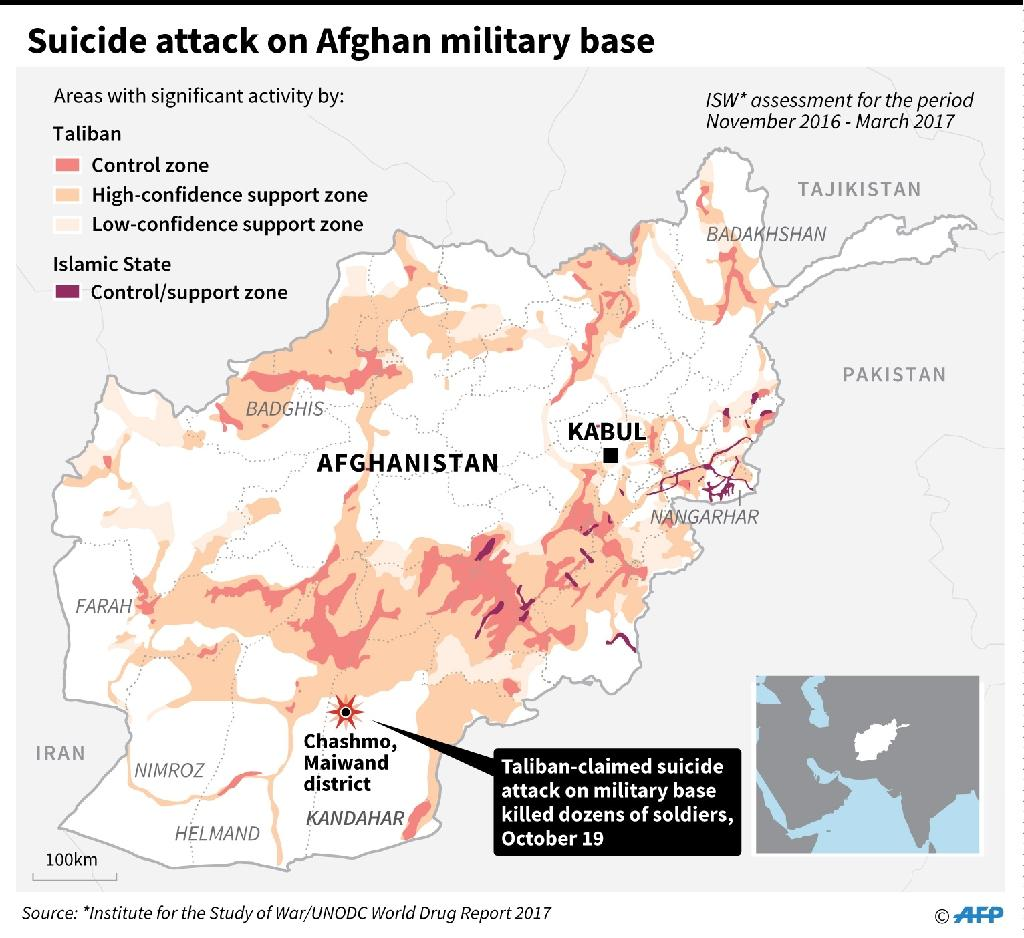 Map of Afghanistan locating a deadly suicide attack on a military base in Kandahar Thursday. Includes areas with significant militant activities. (AFP Photo/Gal ROMA)